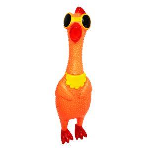 Kurczak skrzeczący, gumowa zabawka pomarańczowy