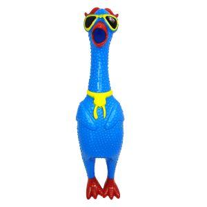 Kurczak skrzeczący, gumowa zabawka niebieski