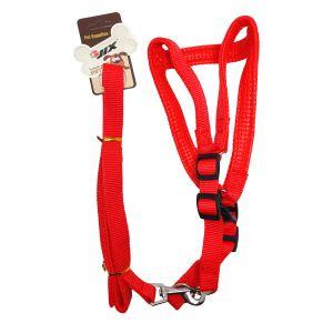Szelki + smycz z neoprenem dla psa  M-XL czerwone